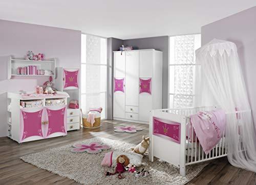 rauch Babyzimmer 3-teilig in weiß mit Kronen-Motivdruck weiß/rosafarben