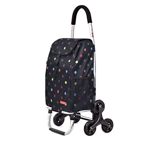 SYue Leichte Treppe Kletterwagen/Dreirad Klapp Einkaufswagen, Push/Pull Einkaufstüte mit Abnehmbarer wasserdichter Tasche - Treppen rauf und runter