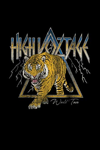 High Voltage Tiger Vintage Retro Rock Music Band Concert Notebook 114 Pages 6''x9'' Blank lined