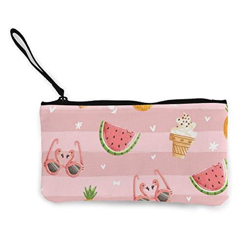 Wrution Flamingo-Brille, Wassermelone, für kalte Getränke, Sommer, Leinen, Münztasche, Reißverschluss, kleine Geldbörse, weiblich, tragbar, große Kapazität, personalisierbar
