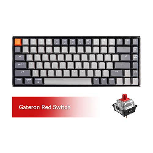 Keychron K2 Bluetooth Mechanical Keyboard with Gateron Red Switch/White LED Backlit/USB C/Anti Ghosting/N-Key Rollover/Compact Design, 84 Key WirelessKeyboard for Mac Windows