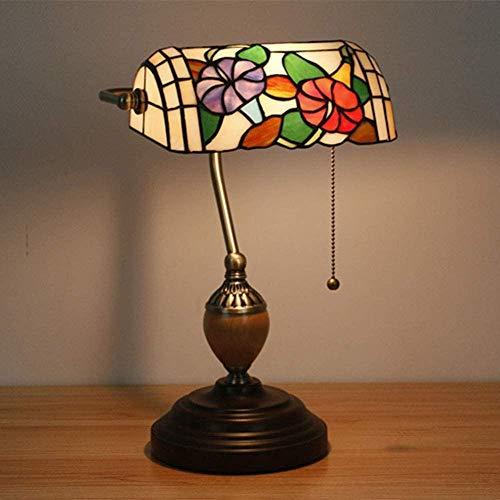 Lámpara de escritorio de la casa del banco Retro colorido de la oficina de cristal-Luz de banco retro