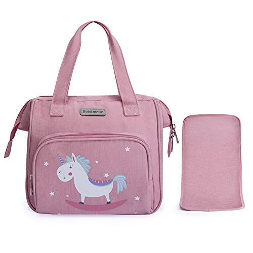 Bebamour Pink Baby Doll Diaper Bag with Doll Changing Pad Carry Baby Doll Accessories Fashion Kids Bag for Baby Girl (Bag)