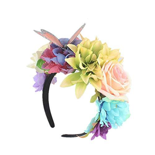 Sanwood Künstliche Blume Stirnband Schmetterlinge Haar Hoop Party Frauen Zubehör Kopfbedeckung D