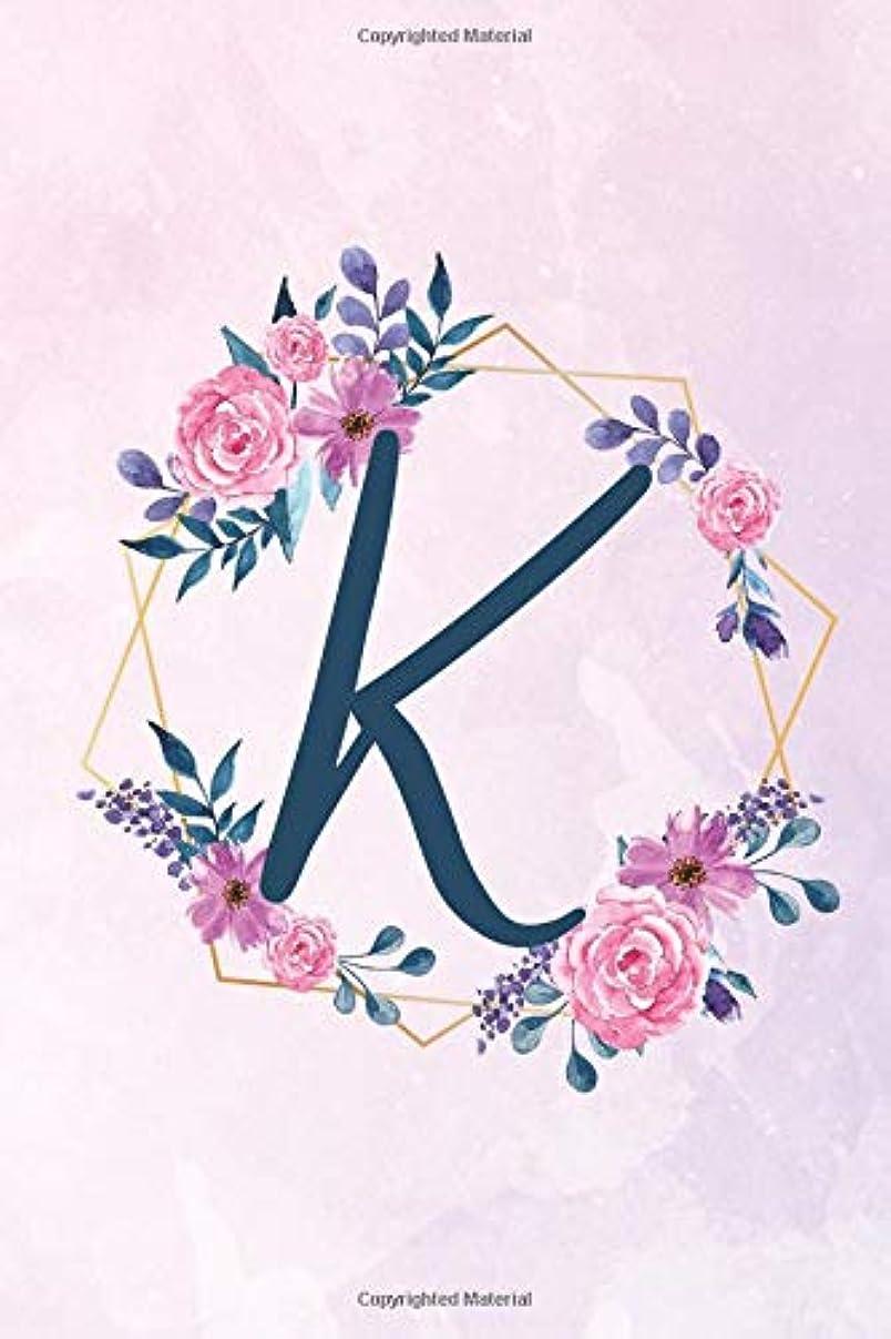 手を差し伸べる先例不適K: Initial K Monogram Notebook - Floral Journal for Women, Girls - Flower Lovers