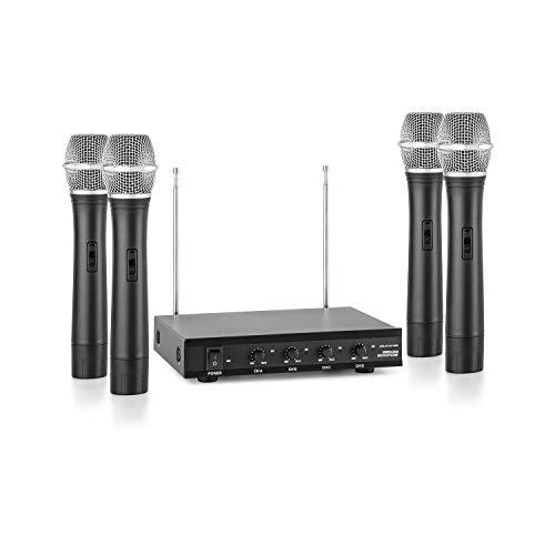 auna VHF-4-H Set micrófonos de mano inalámbricos VHF de 4 canales (alcance hasta 100 metros, incluye receptor y 4 micro dinámicos) - negro