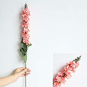 Artificial and Dried Flower Artificial Delphinium Flowers Wedding Party Decor Artificial Antirrhinum Snapdragon Simulation Flower with Full Blooming – ( Color: Pink )