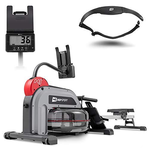 Hop-Sport Wasserrudergerät - klappbar Ruderzugmaschine für zuhause inkl. Brustgurt - Rudermaschine 6 Fach verstellbare Pedale Wasserwiderstand Computer