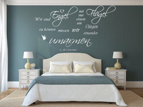 XL Wandtattoo fürs Schlafzimmer 68061-110x58 cm, ~ Spruch: Luciano De Crescenzo - Wir sind Engel mit nur einem Flügel ~ Wandaufkleber Aufkleber für die Wand, Fliesen, Tapetensticker aus Markenfolie, 32 Farben wählbar
