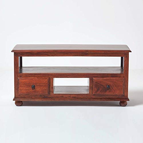 Homescapes - Takhat - TV Media Unit with 2 Drawers - 100% solid Indian Sheesham Hardwood Furniture (no veneer) Hand Made using traditional techniques