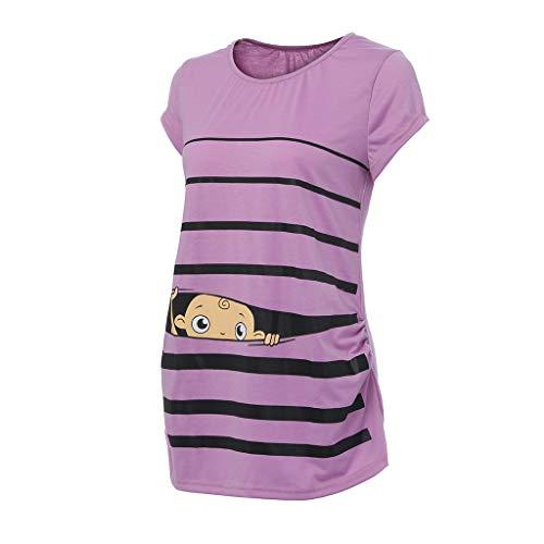 Damen Bequem Umstands Tops, LeeMon Mutterschaft niedliche lustige Baby Print gestreiften Kurzarm T-Shirt Schwangere Tops
