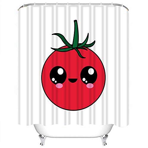 Brandless Tomate Duschvorhang Natur Pflanze Wasserdicht Badezimmer Duschvorhang Set Tropisches GemüSe Badezimmer Duschvorhang Mit Haken-B90xH180cm