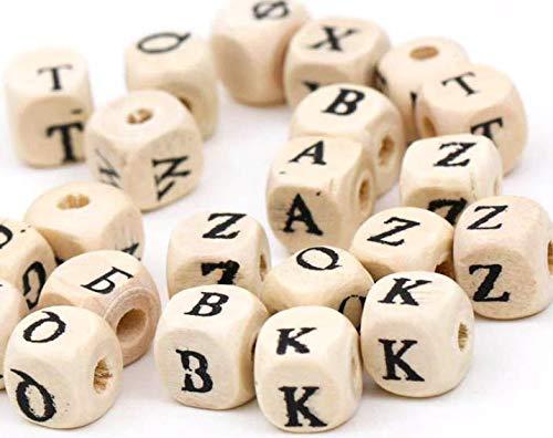 200 Buchstabenperlen natur, Holzperlen Buchstaben 10 x 10 mm mit 3,5 mm Loch,- gemischte Buchstaben A-Z im Set - zum Basteln, Auffädeln, Fädeln für Schnullerketten DIY-Schmuck
