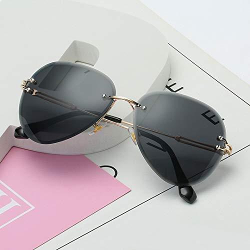MOHAN88 Gafas de Sol sin Montura para Mujer, gradientes, Lentes de Corte, Gafas de Metal sin Marco para Mujer, UV 400, Redondas Vintage