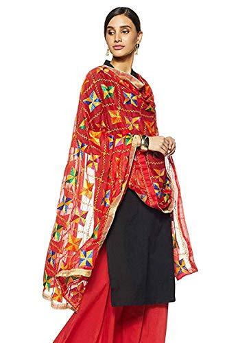 Weavers Villa Indische Handarbeit, Ethnische Dupatta Phulkari bestickt Dupatta Chunni/Stola/Schal - Rot - Large
