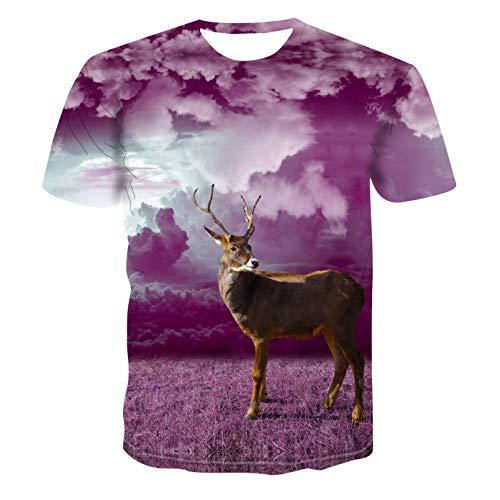 Unisex 3D Druckten Sommer-beiläufige Kurze Hülsen-T-Shirts Sommer Männer Kurzarm T-Shirt geometrischen Druck 3D T-Shirt Hip Hop Mode lose T-Shirt Elch Tierdruck-XL