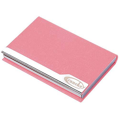 D-JIAJU Estuche para Tarjetas De Visita con Titular De Tarjeta De Crédito De Cuero De PU Y De Acero Inoxidable Estuche para Tarjeta De Presentación para Hombres Y Mujeres (Color : Pink)