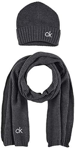 Calvin Klein Herren Knitted Beanie + Scarf 40X180CM Winter-Zubehr-Set, Mid Heather...