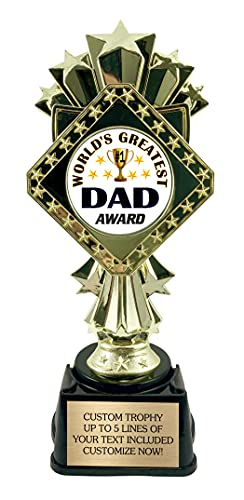 Best Dad Trophy - Award for World's Greatest Father - 9 Inches Tall with Custom Engraved Plate!