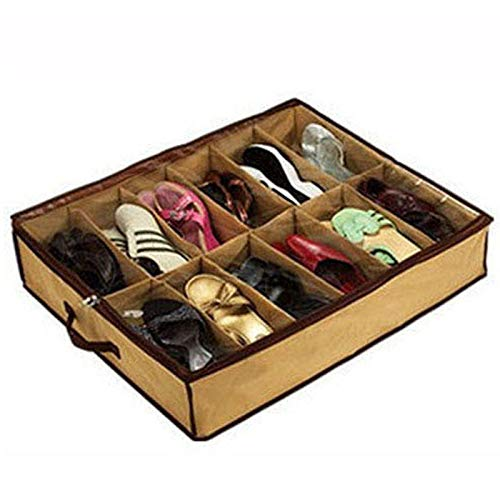 Kangkang - Organizador de Zapatos de Almacenamiento para el hogar, 12 Celdas, Plegable, para Debajo de la Cama, Armario, cajón, Almacenamiento de Zapatos