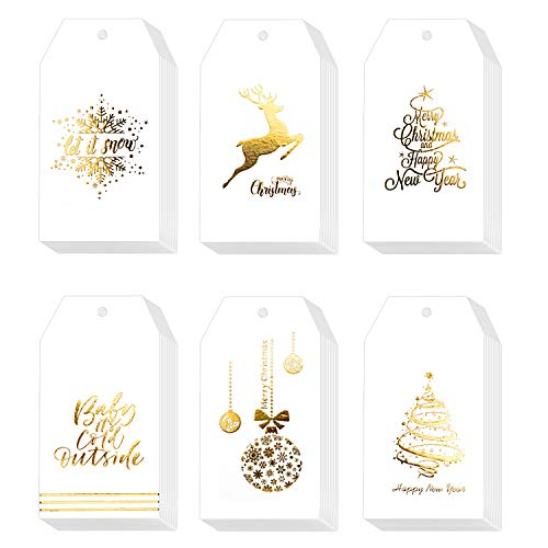 Whaline 120 Pcs Christmas Gold Foil Paper Gift Tags Holiday Hang Name Tags Label with Twine for DIY Xmas Present Happy New Year Party Decoration