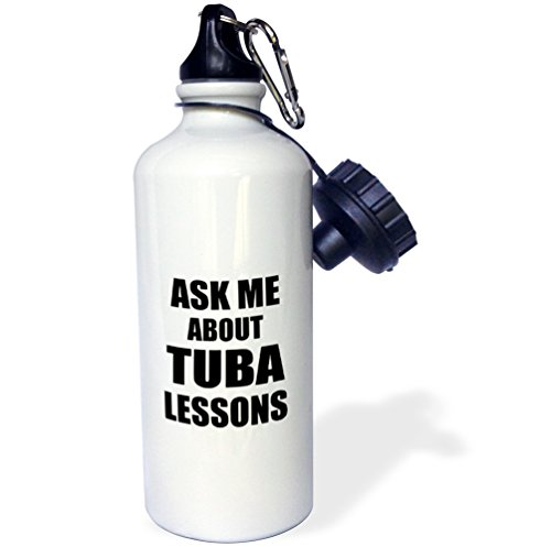 "3dRose ""Ask me about Tuba lessons self-promotion promotional advertise advertising music teacher marketing"" Sports Water Bottle, 21 oz, White -  wb_161902"
