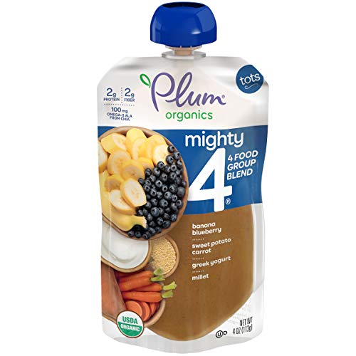 Plum Organics Mighty 4, Organic Toddler Food, Banana, Blueberry, Sweet Potato, Carrot, Greek Yogurt and Millet, 4 Ounce (Pack of 12) (Packaging May Vary)