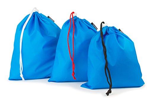 Set di 3 sacchetti leggeri con chiusura a cordoncino - 1 Small, 1 Medium, 1 Large - cielo blu