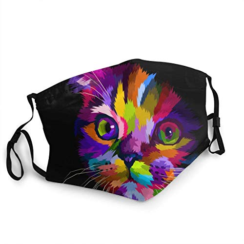 Scottish Fold Cats Head is Colorful in The Dark Face Masks Washable Reusable Safety Masks Protection from Dust Pollen Pet Dander Other Airborne