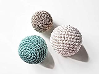 Handmade Crochet Balls Set of 3 multi-size in Sea Green, Off White, Beige; Toddler Baby Development Toys