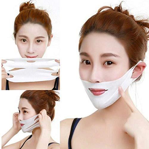 Mascarilla Reafirmante Facial Adelgazante 4D Cara Doble Con Forma V Oreja Colgada Pasta Hidrogel Reparadora Facial Barbilla Levante La Máscara Anti Arrugas