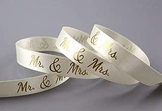 Dekoband Mr & Mrs Creme Gold 3 m x 15 mm 1,00€/m Geschenkband Hochzeit Wedding Satinband für Hochzeitsgeschenk Deko Hochzeitsalbum Schleifenband von FINEMARK