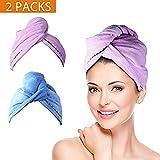 2 Pack Hair Towel Wrap Turban Microfiber Drying Bath Shower Head Towel...