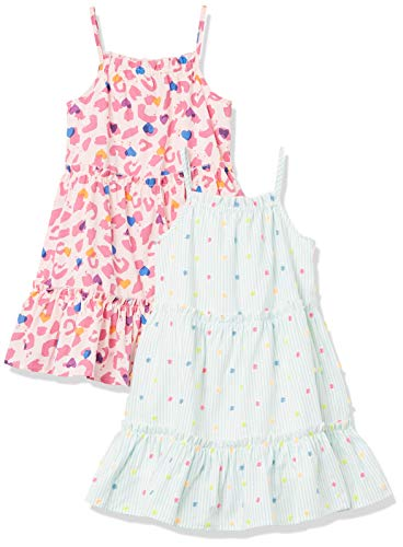 Spotted Zebra Girls' Kids Woven Sleeveless Tiered Dresses, 2-Pack Leopard/Aqua Multi-Dots, X-Small