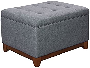 HomePop Upholstered Chunky Textured Tufted Storage Ottoman