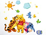Wall Sticker Decal Winnie The Pooh and Friends for Kids Bedroom Nursery Daycare and Kindergarten Mural Home Decor DIY Self Adhesive Removable