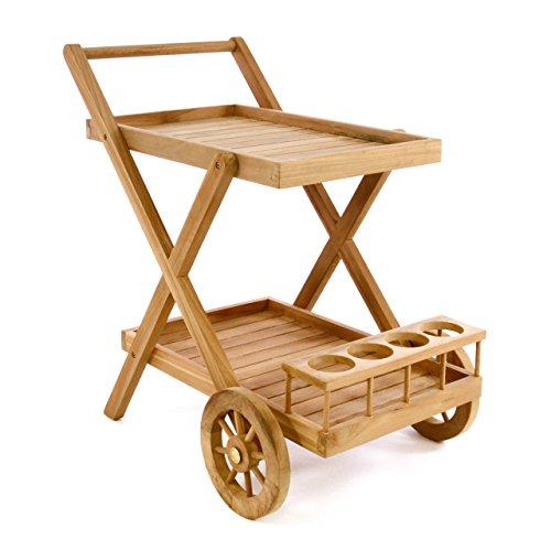 Divero Servierwagen aus Teakholz, behandelt - Teewagen Rollwagen Küchenwagen - mit Rädern, 2 Abstellflächen und Flaschenhalterung