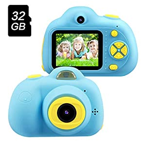 Best Birthday Gifts for Boys Age 3-8,OMWay Kids Digital Video Camera for Boys,Toys for Boys 4 5 6 7 8 Year Old,8MP HD Camcorders,Blue(32GB SD Card Included).