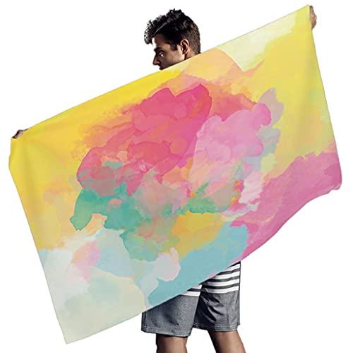 OwlOwlfan Acuarela Tie Dye Toalla de playa de microfibra ligera a prueba de sol toalla de baño para hombres mujeres blanco 150x75 cm