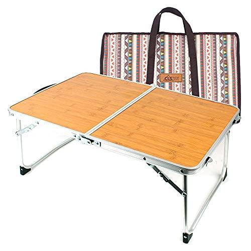 DERUKK-TY Mesa plegable de camping Mesa de camping plegable de aluminio con bolsa de transporte al aire libre de bambú portátil mesa de picnic