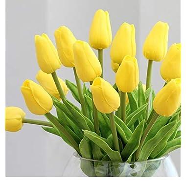 Montout 12PCS/Set PU Stunning Holland Tulip Flower Real Touch Artificial Silk Flowers Arrangement Bouquet Home Room Office Wedding Party Decor (Yellow)