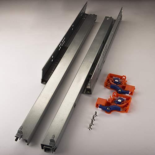 SOTECH 1 Paar FullSlide Schubladenauszüge UV2-25-K1D-L600-PP Länge 600 mm für Holzschublade Unterflurführung mit Push-to-Open Drucköffner