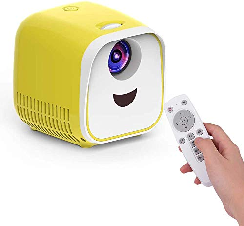 Mini LED Video Kinderen Beamer Home FamilyTheater Movie Projector 480 * 320 Eigen resolutie 50000 Hours met afstandsbediening for laptop PC TV Gift for Children Friends Family dljyy (Color : Yellow)