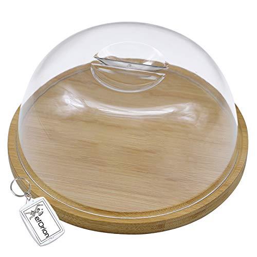 Quesera Redonda con Tapa de Plastico – Caja Queso Madera de Bambú – Ideal para Conservar Frescos tus Quesos - Diámetro Ø 18cm