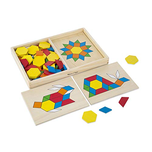 Melissa & Doug Pattern Blocks and Boards Classic Toy (Developmental Toy, Wooden Shape Blocks, 120 Shapes & 5 Boards, Great  Girls and Boys - Best for 3, 4, 5, and 6 Year Olds)