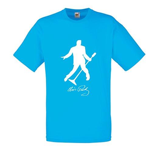 lepni.me Camisetas Hombre Me Encanta el King of Rock and Roll, 50s, 60s, 70s, Music Fan (XX-Large Azul Blanco)