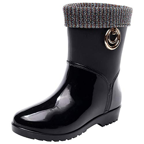 ANUFER Women's Stylish Round Toe Mid-Calf Rain Boots with Removable Lining...