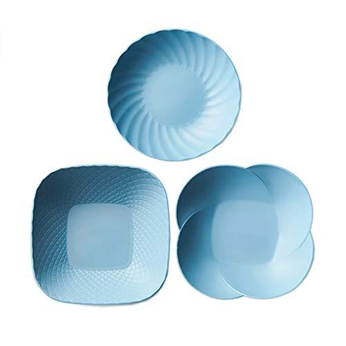 LILINSS Platos Piezas de plástico de la Placa 3, Fruta Simple de Home Plate nórdica Estilo Snack-Placa Creativa Placa de Ensalada Placa de Postre Vajilla
