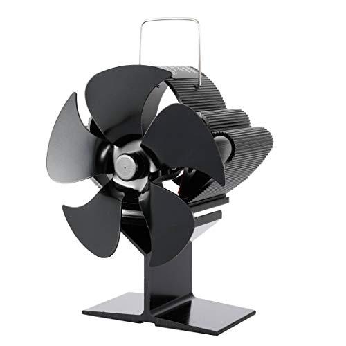 Kaminlüfter Mini 5 Flügel Kaminventilator Eco Leiser Holzbrenner Herdventilator Wärmewärme Power Fan Für Holz/Holzofen/Kamin (Size:110x85x145mm; Color:Black)