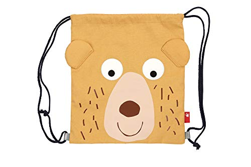 SIGIKID 25067 Girls' and Boys' Duffel Bag with Cotton Canvas Bear Design Yellow 3 to 8...